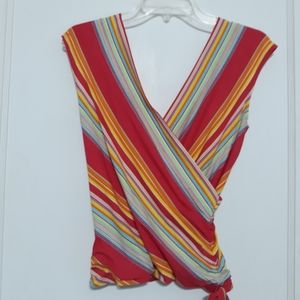 HAROLD'S Overlapped Striped Top XS